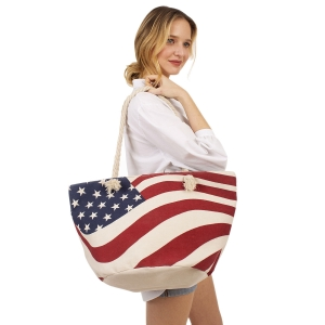 CB1401 American Flag Large Tote Summer Bag