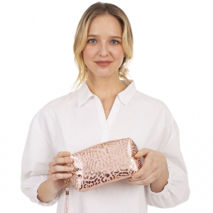 CB1403 Gold Leopard Pattern Cosmetic Bag, Pink