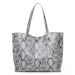 CB1431 Python Pattern Shopper Tote Bag, Black