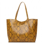 CB1431 Python Pattern Shopper Tote Bag, Mustard