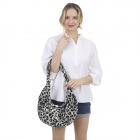 CB1432 Leopard Pattern Canvas Sling Bag, Black