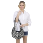 CB1432 Leopard Pattern Canvas Sling Bag, Black