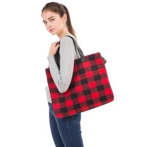 CB1802 Buffalo Plaid Pattern Winter Large Tote Bag, Red
