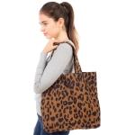 CB1832 Leopard Pattern Corduroy Canvas Style Tote Bag
