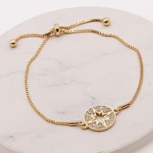 CB-2614 Circle Sun Burst Bracelet, Gold