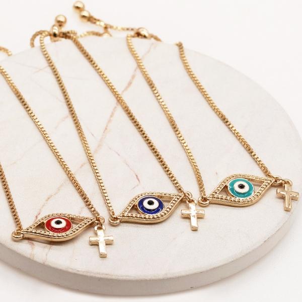 Evil's eye with Cross Charm Bracelet