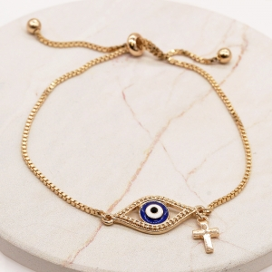 CB-2617 Evil's eye with Cross Charm Adjustable Bracelet, GBL