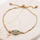 CB-2617 Evil's eye with Cross Charm Adjustable Bracelet, GTQ