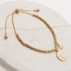 CB-2619 Crescent Moon & Star Bracelet, Gold