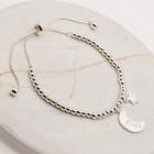 CB-2619 Crescent Moon & Star Bracelet, Silver