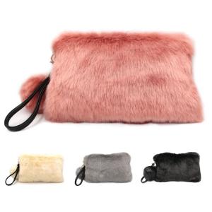 CB6001 Fur Handbag With Pom Pom Handle