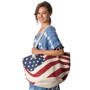 CB8221 American Flag Beach Bag
