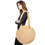 CB8249 Solid Faux Fur Round Tote Bag, Taupe