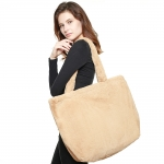 CB8252 Solid Faux Fur Oversized Tote Bag, Taupe
