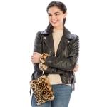 CB8253 Leopard Print Faux Fur Wristlet Clutch