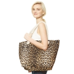 CB9657 Leopard Print Beach Tote Bag, Brown
