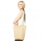 CB9655 Straw Shoulder Bag, Beige