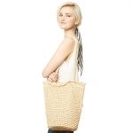 CB9655 Straw Shoulder Bag, Beige