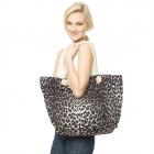 CB9657 Leopard Print Beach Tote Bag, Black