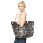 CB9657 Leopard Print Beach Tote Bag, Black