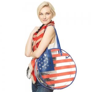 CB9658 AMERICAN FLAG CLEAR BEACH BAG
