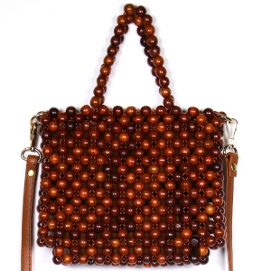 CB9682 Handmade Wooden Bead Bag With Strap & Lining