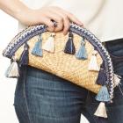 CB9685 Handmade Straw Hand Bag With Tassel, Blue