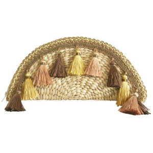 CB9685 Handmade Straw Hand Bag With Tassel, Taupe
