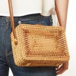 CB9691 Handmade Rattan Crossbody Bag