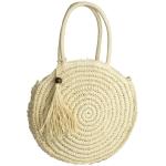 CB9703 Round Straw Shoulder Handbag, Ivory