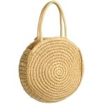 CB9703 Round Straw Shoulder Handbag, Natural