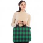 CB9704 Buffalo Plaid Large Tote/Shoulder Bag, Green