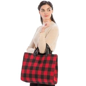 CB9704 Buffalo Plaid Large Tote/Shoulder Bag, Red