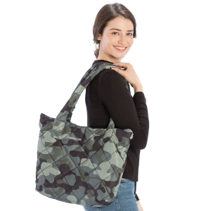 CB9706 Camouflage Print Puffer Tote Bag