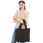CB9707 Solid Color Puffer Tote Bag, Black