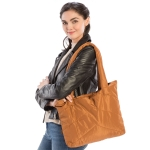 CB9707 Solid Color Puffer Tote Bag, Brown