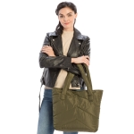 CB9707 Solid Color Puffer Tote Bag, Olive