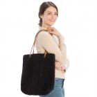CB9710 Teddy Bear Textured Tote Bag, Black