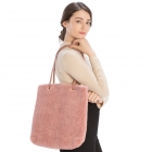 CB9710 Teddy Bear Textured Tote Bag, Pink