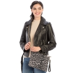 CB9714 Leopard Print Cross-body / Clutch Bag, Grey