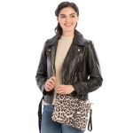 CB9714 Leopard Print Cross-body / Clutch Bag, Taupe