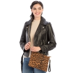 CB9714 Leopard Print Cross-body / Clutch Bag, Brown