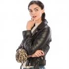 CB9718 Leopard Print Faux Fur Round Wristlet, Beige