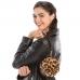 CB9718 Leopard Print Faux Fur Round Wrestlet, Camel