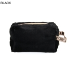 UCB9129 Solid Furry Cosmetic Pouch, Black