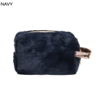 UCB9129 Solid Furry Cosmetic Pouch, Navy
