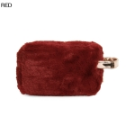 UCB9129 Solid Furry Cosmetic Pouch, Red