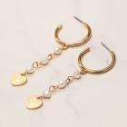 CE-19407 Mini Pearl & Heart Bold Hoop Earring, Gold