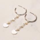 CE-19407  Mini Pearl & Heart Bold Hoop Earring, Silver