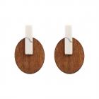 CE11-033 Oval Wood & Rectangular Stone Earring